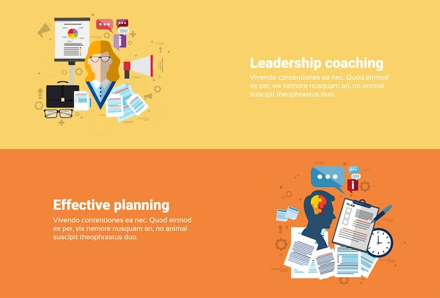 Leadership coaching management effective planning strategy business web banner flat vector illustrat