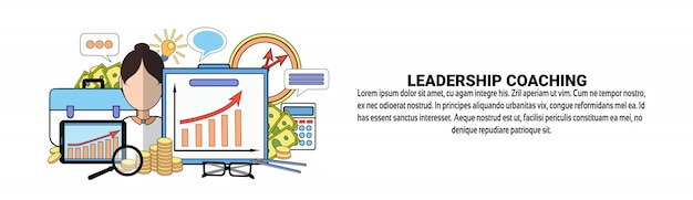 Leadership coaching web banner template business professional training concept