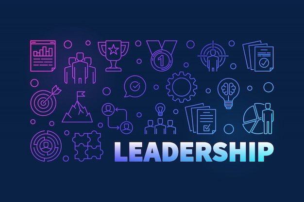 Leadership colored horizontal outline illustration