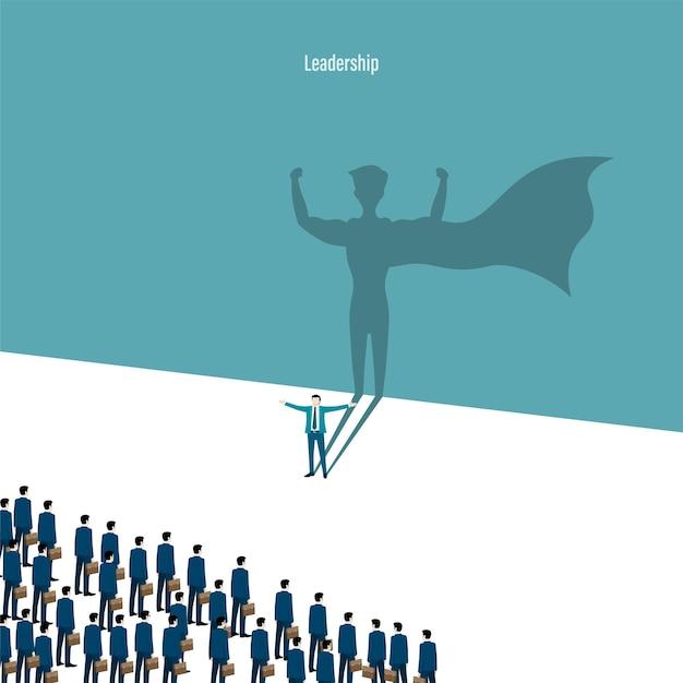 リーダーシップの概念。スーパーヒーローの影を持つビジネスマン。野心的な動機付けのリーダーシップと挑戦の象徴。労働者のビジネスファイナンスチームが前進します。強いチーム。ベクトルイラストフラット