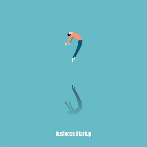 리더십 개념입니다. 성공의 자유 남자 상징입니다. 개인 및 경력 성장. 시작 비즈니스 개념입니다. 사업 아이디어의 시작. 벡터 일러스트 레이 션 플랫