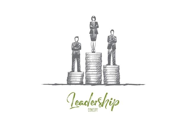 リーダーシップの概念。手描きのビジネスチームリーダー。成功と競争の孤立したイラスト。