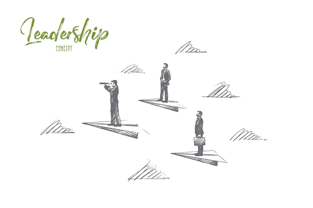 Leadership concept. hand drawn success people, leaders, who know the strategy. manager, team lead isolated illustration.