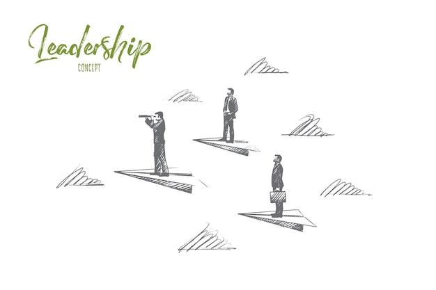 리더십 개념. 손으로 그린 성공 사람, 지도자, 전략을 알고 있습니다. 관리자, 팀 리드 고립 된 그림.