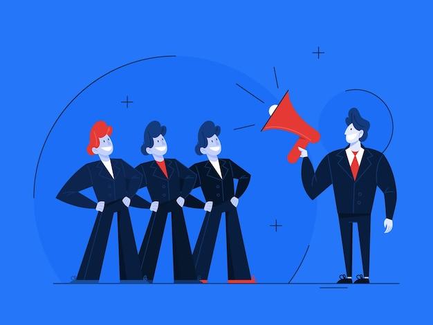 리더십 개념. 팀워크와지도에 대한 아이디어. 전문적인