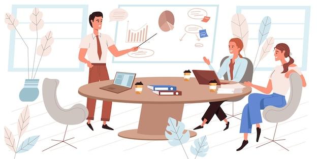 Концепция лидерства в плоском дизайне. успешная команда сотрудников на деловой встрече, коллеги проводят презентации и мозговой штурм. сцена партнерства и сотрудничества людей. векторная иллюстрация