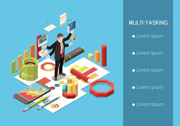 Изометрическая иллюстрация концепции лидерства со списком вариантов текста и человеческими персонажами с графиками и элементами рабочего места