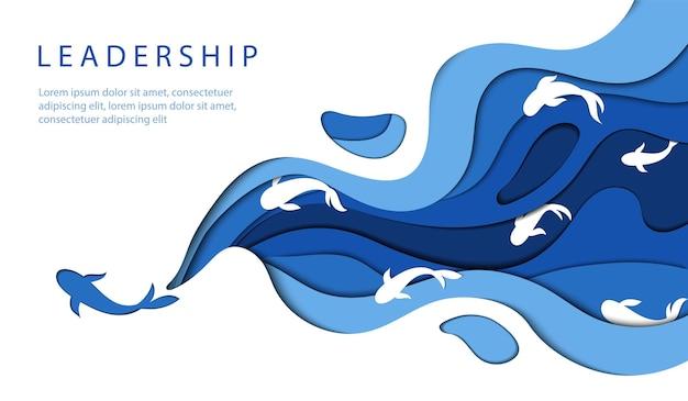 리더십 개념. 수영 물고기 또는 돌고래와 함께 물의 모양에 파란색과 해군 색상의 최소한의 종이 컷 디자인 구성.
