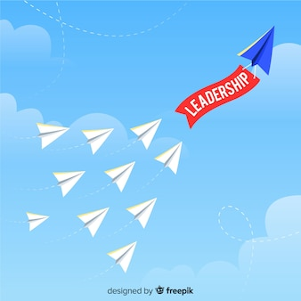 Leadership concept and paper planes design