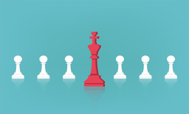 Leadership concept with chess king in front of pawns line illustration.