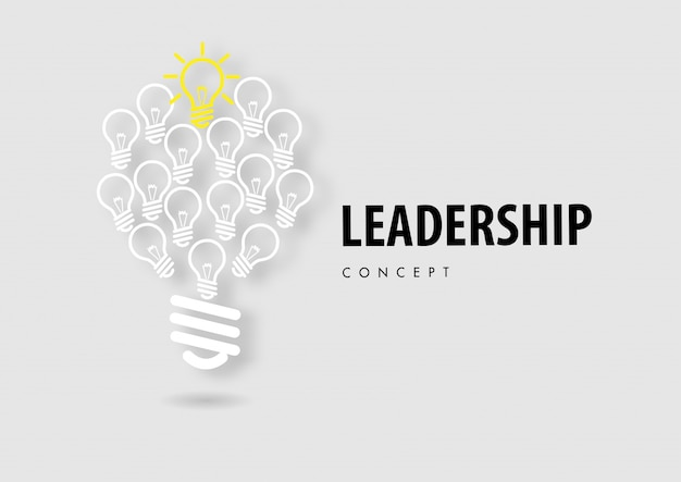 Leadership concept with line icon paper cut style vector