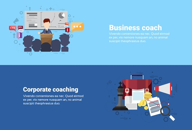Leadership corporate coaching management business web banner flat vector illustration
