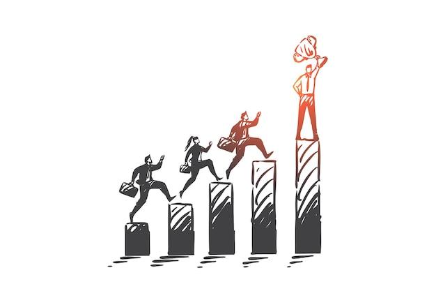 リーダーシップ、企業レース、ビジネス競争の概念図