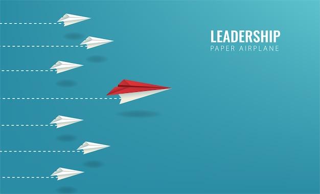 Дизайн лидерства с символом бумажный самолетик. одно видение и хорошая командная работа для иллюстрации успеха.