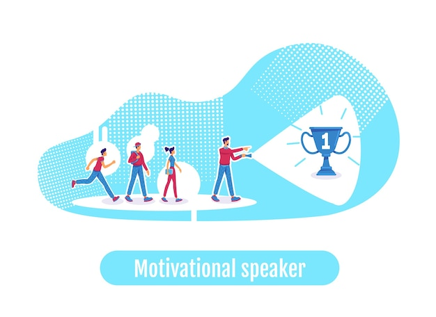Leadership flat concept illustration. motivational speaker phrase. career achievement. team leader and coworkers 2d cartoon characters for web design. company mentor creative idea