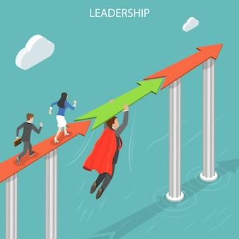 Leadership flat isometric  concept.