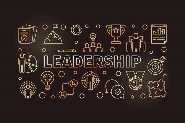 Leadership horizontal golden icon illustration in outline style