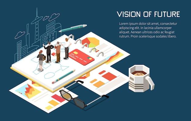 Лидерская изометрическая композиция с редактируемым текстом и человеческими персонажами, строящими планы для бизнеса с городским пейзажем