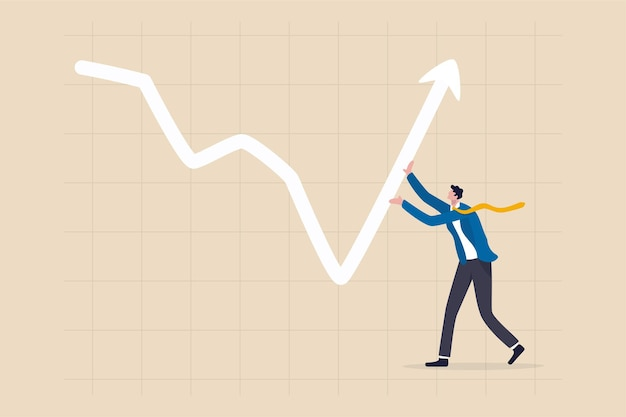 Leadership to lead business growth in market downturns concept.