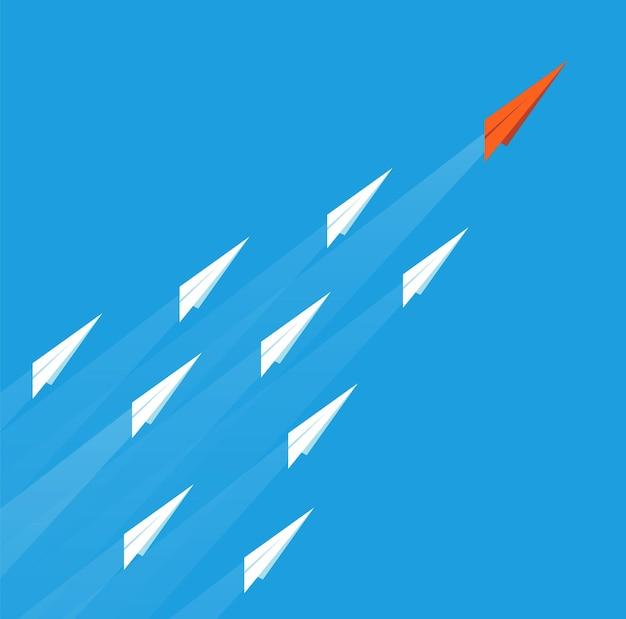リーダーシップ飛行機のコンセプト。ビジネス目標、紙飛行機は成功へと続きます。チームワークの使命、赤いリーダーの創造的なビジョンベクトルイラスト。空の飛行機リーダー赤、創造的なビジョンミッション