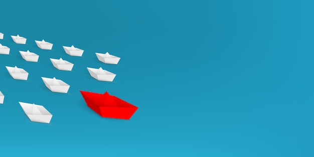 Leadership red paper boat, ship leading among.