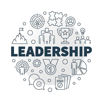 Leadership round icon illustration in outline style