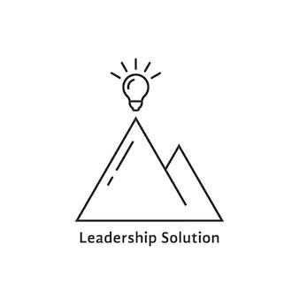 밝은 전구가 있는 리더십 솔루션 로고. 램프, 브레인스토밍, 관광, 임무, 전략, 레이, 승리의 개념. 흰색 배경에 평면 스타일 트렌드 현대 리더십 로고 디자인 벡터 일러스트 레이 션