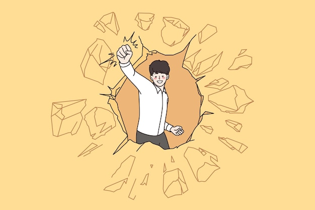 Leadership, success, innovation development concept. young positive businessman breaking through concrete wall achieving goal vector illustration