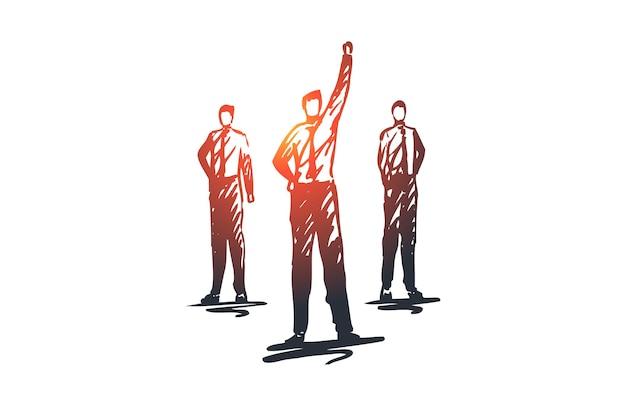 Лидерство, команда, работа в команде, люди, концепция группы. ручной обращается бизнес-лидер с эскизом концепции команды.