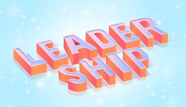 Leadership text title isometric