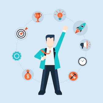 Leadership time management components of success concept flat design   illustration. businessman ceo leader stands like superhero with icons around