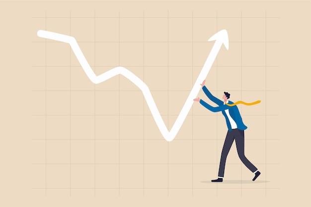 市場の低迷の概念でビジネスの成長をリードするリーダーシップ。