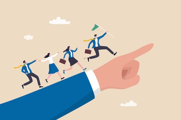 チームメンバーをリードするリーダーシップ、目標または目標を達成するためのビジネスの方向性、仕事で成功するためのチームワーク、勝者の旗を掲げるビジネスマンリーダーが指差しでリードビジネスマンを実行します。