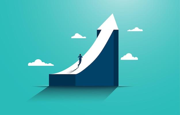 ビジネスの成功に到達するためのリーダーシップ。グラフの一番上に走っているビジネスマン。目標、成功、野心、達成および課題のビジネスコンセプト