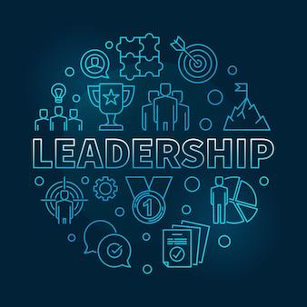 Leadership vector round blue outline illustration