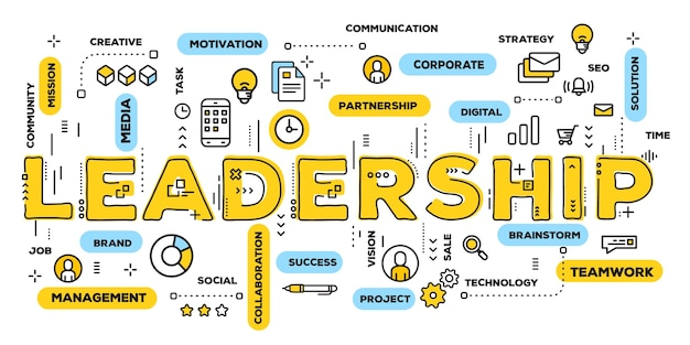 Leadership, yellow word lettering typography with line icons and tag cloud
