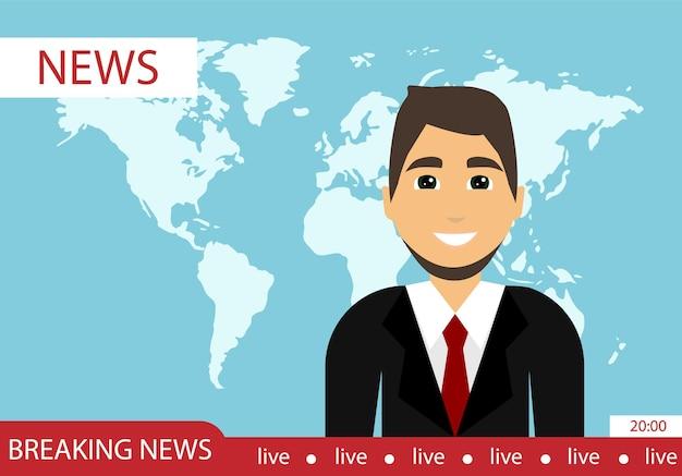 主要なニュース番組。最新ニュース。世界のニュース。フラットなデザイン。