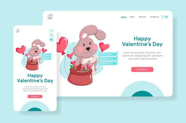 Ведущая страница happy на день святого валентина с иллюстрацией милый кролик