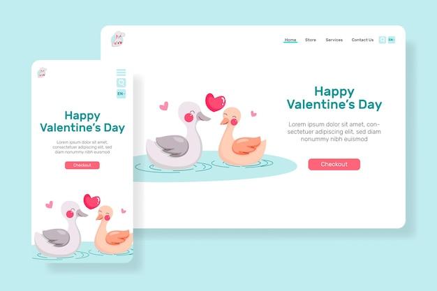 Ведущая страница с днем святого валентина с иллюстрацией пара милая утка