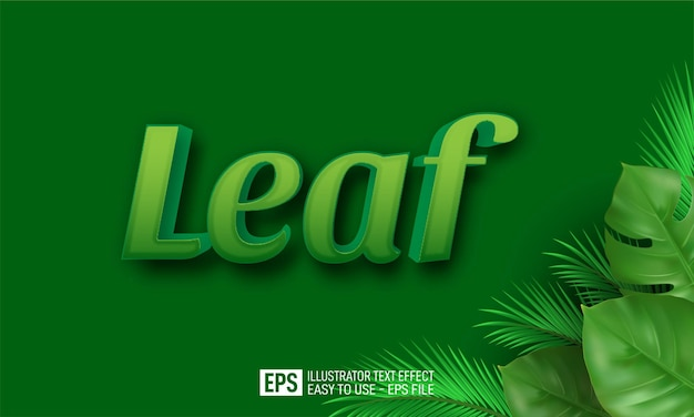 Leaf 3d text editable style effect template