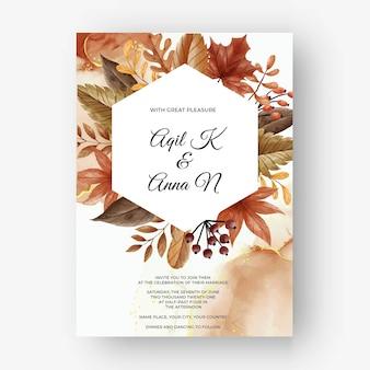 Листья и ягоды осень осень свадебное приглашение
