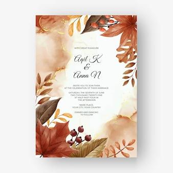 잎과 베리 가을 가을 청첩장