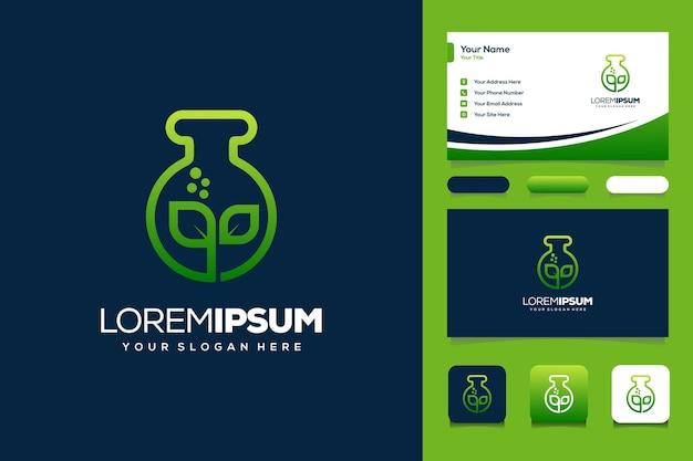 잎과 실험실 로고 디자인 명함 템플릿