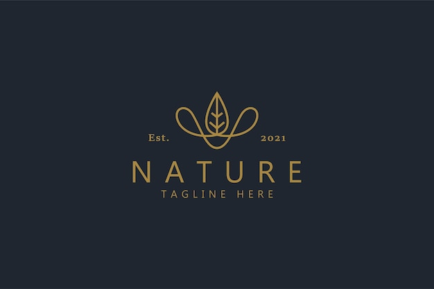 葉とロープの自然な創造的な概念のロゴ。抽象的な形のカウボーイハット。