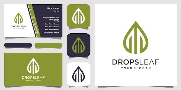 葉と水線画のベクトルのロゴ。ロゴデザインと名刺