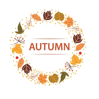 Leaf autumn circle template text