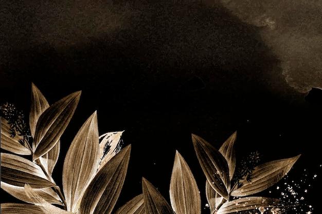 葉の背景茶色の美的境界線ベクトル、ビンテージパブリックドメイン画像からリミックス