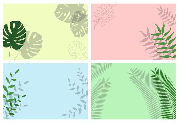 Набор фонов листьев. тени тропических листьев