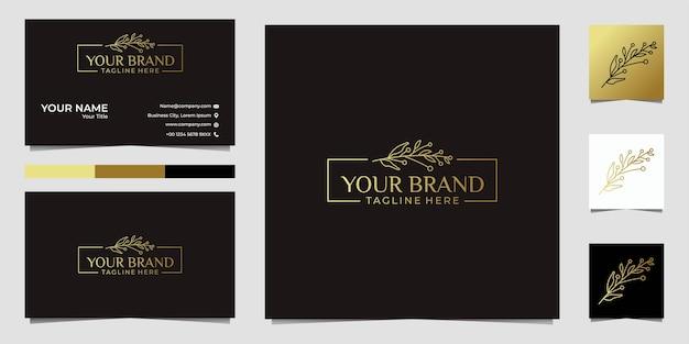 Лист красоты золотой раме логотип и визитная карточка