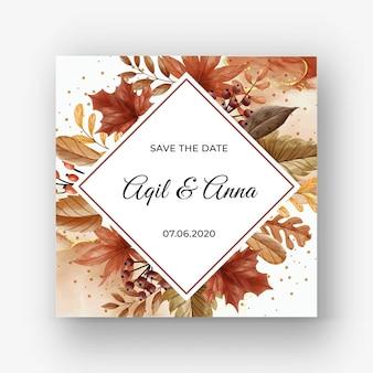Biglietto d'invito per matrimonio autunno autunno con foglie e bacche